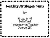 Kindergarten Reading Strategies Menu