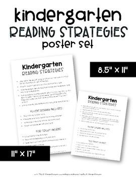 Kindergarten Reading Strategies Poster Set