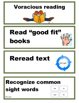 Kindergarten Reading Strategy Cards
