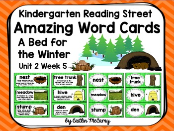 Kindergarten Reading Street Amazing Word Cards A Bed for the Winter