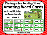 Kindergarten Reading Street Amazing Word Cards Animal Babies in Grasslands