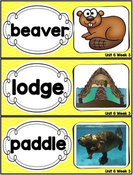 Kindergarten Reading Street Amazing Word Cards Building Beavers Unit 6 Week 3