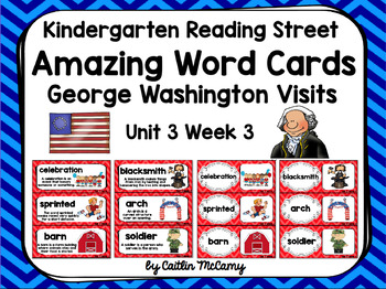 Kindergarten Reading Street Amazing Word Cards George Washington Visits
