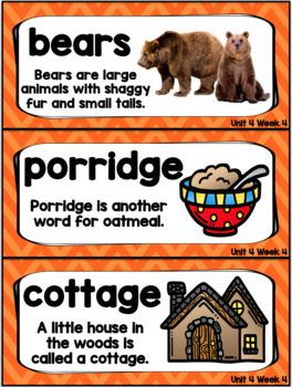 Kindergarten Reading Street Amazing Word Cards Goldilocks and the Three Bears