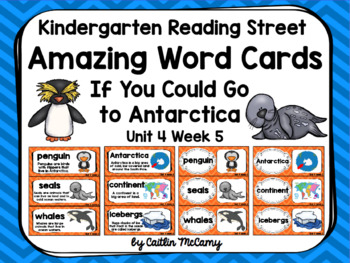 Kindergarten Reading Street Amazing Word Cards If You Could Go to Antarctica