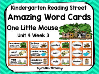 Kindergarten Reading Street Amazing Word Cards One Little Mouse
