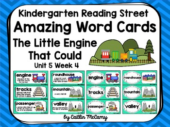 Kindergarten Reading Street Amazing Word Cards The Little Engine That Could