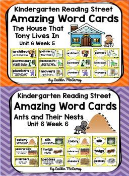 Kindergarten Reading Street Amazing Word Cards Unit 6 Bundle