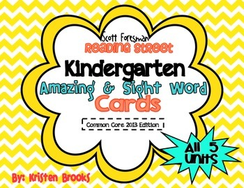 Reading Street Kindergarten Amazing Words and Sight Word Cards (Yellow)