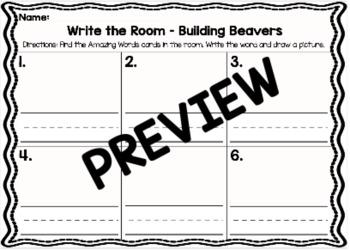 Kindergarten Reading Street: Building Beavers Write the Room