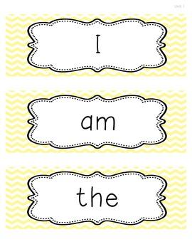 Kindergarten Reading Street Chevron Sight Word Cards
