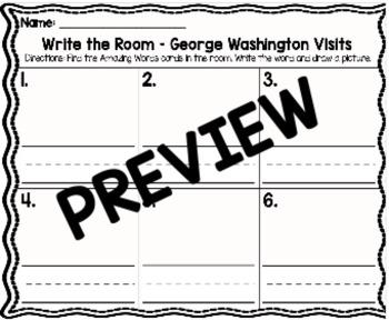 Kindergarten Reading Street: George Washington Visits Write the Room