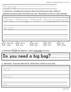 Kindergarten Reading Street Guided Reading Group Writing Activity Page
