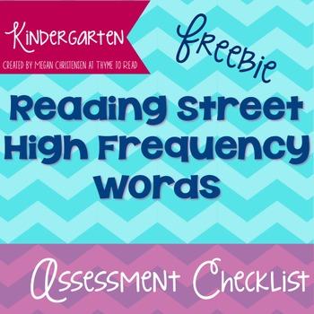 Kindergarten Reading Street High Frequency Word Assessment Checklist {FREEBIE}