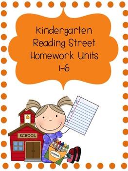 Kindergarten Reading Street Homework Pack Units 1-6