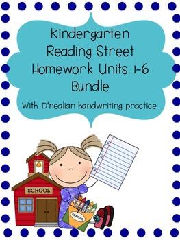 Kindergarten Reading Street Homework Pack Units 1-6 With D'nealian Practice