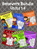 Kindergarten Reading Street Homework Unit 1-6 Bundle