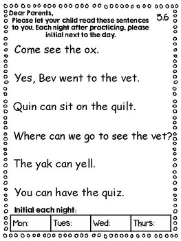 Kindergarten Reading Street Homework Unit 5