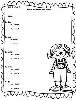 Kindergarten Reading Street Language Assessments Unit 1