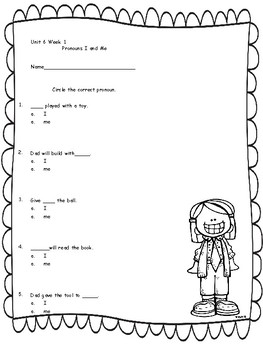 Kindergarten Reading Street Language Assessments Unit 6
