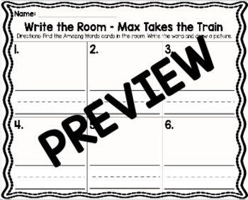 Kindergarten Reading Street: Max Takes the Train Write the Room