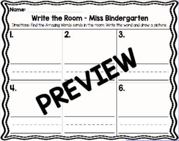 Kindergarten Reading Street: Miss Bindergarten Write the Room