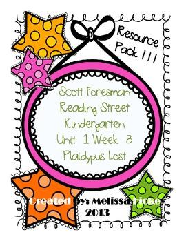 Kindergarten Reading Street Plaidypus Lost RESOURCE PACKET!!!!