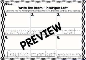 Kindergarten Reading Street: Plaidypus Lost Write the Room