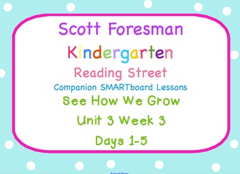 Kindergarten Reading Street SMARTboard Companion Unit 3 Week 3- See How We Grow