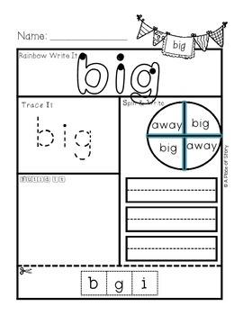 Sight Word Printables for Kindergarten {FREEBIE}