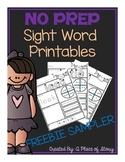 Sight Word Printables for Kindergarten {FREEBIE}- Distance