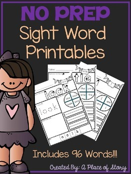 Sight Word Printables for Kindergarten
