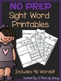 Sight Word Printables for Kindergarten- Distance Learning