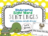 Kindergarten Sight Word Sentence Mini Books