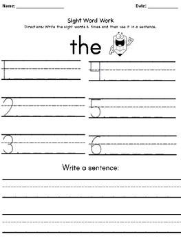 Kindergarten Reading Street Sight Word Worksheets