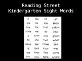 Kindergarten Reading Street Sight Words PowerPoint
