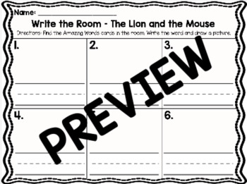 Kindergarten Reading Street: The Lion & the Mouse Write the Room