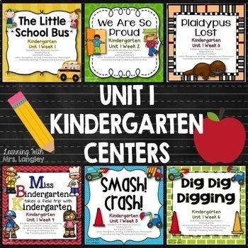 Kindergarten Centers Unit 1 Bundle