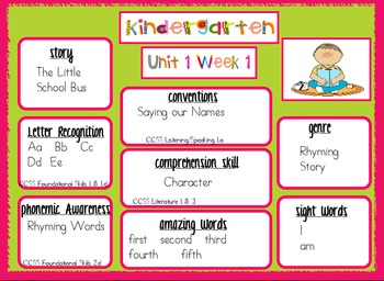 Kindergarten Reading Street Unit 1 Target Skills SAMPLE