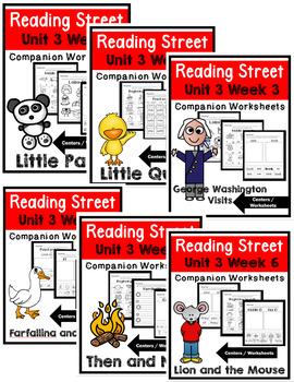 Kindergarten. Reading Street. Unit 3 Bundle Worksheets/Centers