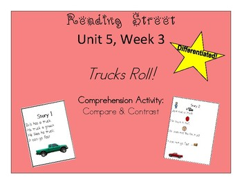 Kindergarten Reading Street Unit 5 Week 3 Trucks Roll Compare and Contrast