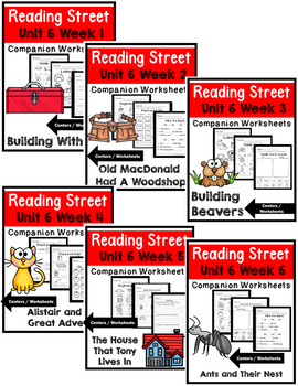 Kindergarten. Reading Street. Unit 6 Bundle Worksheets/Centers