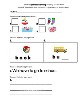 Kindergarten Reading Street Weekly Assessment