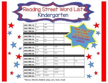 Kindergarten Reading Street Word Wall Cards