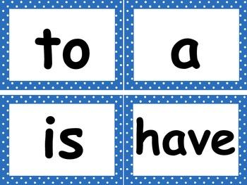 Kindergarten Reading Street Word Wall Cards with Blue Polka Dot Border