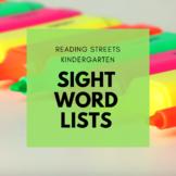 Kindergarten Reading Streets Sight Word Lists
