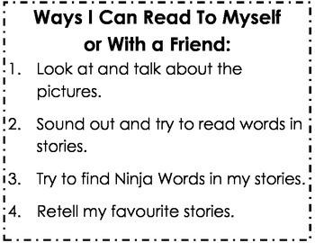 Kindergarten Reading Success Criteria Poster: Ways I Can Read to Myself...