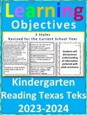 Kindergarten Reading/ Writing TEKS  Learning Objective Cards/ Posters (2 sets)