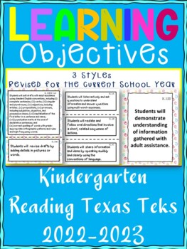 Kindergarten Reading/ Writing TEKS  Learning Objective Cards/ Posters (2 sets)