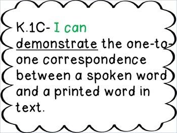 "Kindergarten ELAR TEKS ""I Can"" Statements"